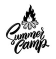 summer camp lettering phrase with campfire vector image