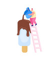 tiny male character stand on ladder pour chocolate vector image