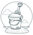 toy bucket with sand and rake outline drawings vector image