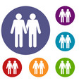 two men gay icons set vector image vector image