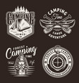 vintage monochrome camping prints vector image vector image