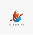 water and fire logo icon template vector image
