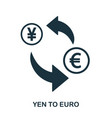 yen to euro icon mobile app printing web site vector image vector image