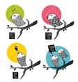 Set of doodle birds on the tree vector image