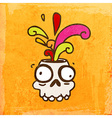Skull with Paint Splatter Cartoon vector image