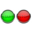 start and stop glass buttons round shiny green vector image