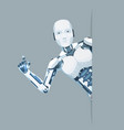 android robot look out corner online help vector image vector image