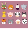 animal icon set faces mask cute dragon vector image