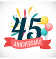 anniversary 45 years template with ribbon vector image vector image