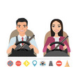 asian man and woman driving a car silhouette of a vector image