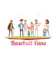 baseball fans family design concept vector image vector image
