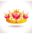 beautiful golden princess crown vector image vector image