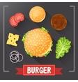 Burger ingredients Burger parts on chalkboard vector image vector image
