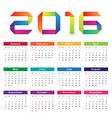 Calendar 2016 Week starts from Sunday vector image