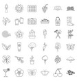 cherry icons set outline style vector image vector image
