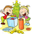 Children under the Christmas tree unwrap gifts vector image