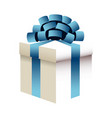 christmas gift box blue bow ribbon wrap image vector image
