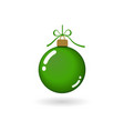 christmas tree ball with ribbon bow green bauble vector image vector image