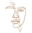 continuous line drawing woman face fashion vector image vector image