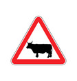 cow warning sign red farm hazard attention symbol vector image vector image