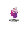 digital abstract human head logo for creative vector image vector image