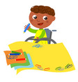 disabled ethnic boy drawing happily vector image vector image