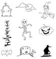 Doodle Halloween skull pumpkins tomb vector image vector image