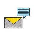 envelope with speech bubble message icon vector image vector image