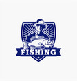 fishing logo badge 2 vector image vector image