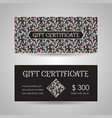 floral style gift certificate template vector image vector image