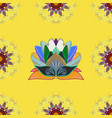 flowers of the valley on yellow blue and brown vector image
