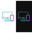 green and purple line computer monitor and mobile vector image vector image