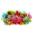 hand drawn lettering for carnival party logotype vector image vector image