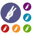 hand showing victory sign icons set vector image vector image