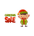 happy cute cartoon elf with gift present and text vector image vector image