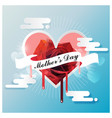 Happy mothers day on white ribbon with red rose