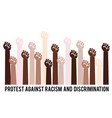 human hands fight against racism black lives vector image vector image