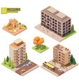 isometric buildings and children playground vector image