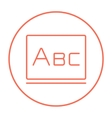 Letters abc on blackboard line icon vector image vector image