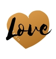 Love inscription with hand drawn gold heart vector image vector image