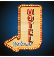 Neon vintage motel sign with light bulbs vector image vector image