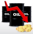 Oil Barrels And Stack Of Gold Coin Price Fall vector image