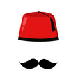 red turkish hat fez and black mustache vector image vector image