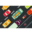 road with cars top view city traffic flat style vector image vector image
