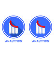 round flat analytics icon graph with different vector image vector image