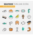 Seafood Thin Line Icons Set with Fish Shrimp vector image vector image