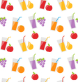 Seamless Pattern with Different Fresh Fruit Juices vector image
