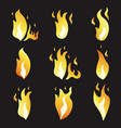 set animation fire and variou vector image vector image