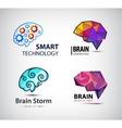 set brain technology brainstorm logo vector image vector image