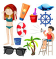 Set isolated people and beach objects